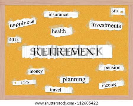 Retirement Corkboard Word Concept with great terms such as happiness, pensin, enjoy, money and more.