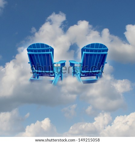 Retirement dreams and financial freedom planning symbol with two empty blue adirondack chairs floating on a cloud as a business concept of future successful investment strategy.