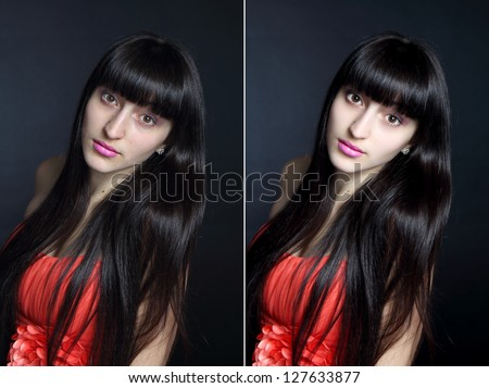 Retouch face of beautiful young woman before and after retouch.