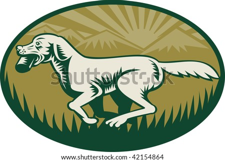 Retriever dog in training with mountains at back done in woodcut style. Three (3) colors used in this image set inside a circular shape.