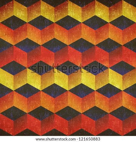 Retro abstract colorful grunge geometric seamless pattern.