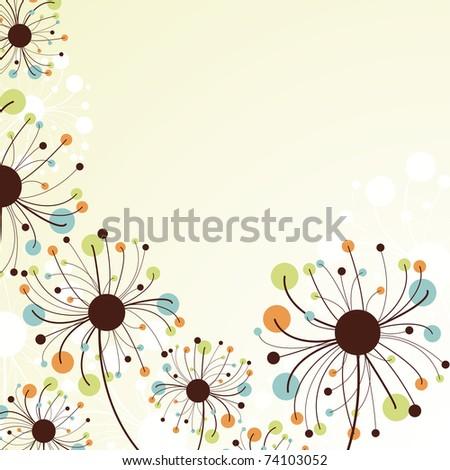 Retro abstract floral backdrop.