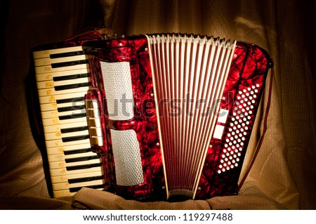 Retro accordion in the dark