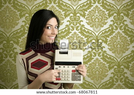 retro accountant woman calculator vintage green sixties wallpaper