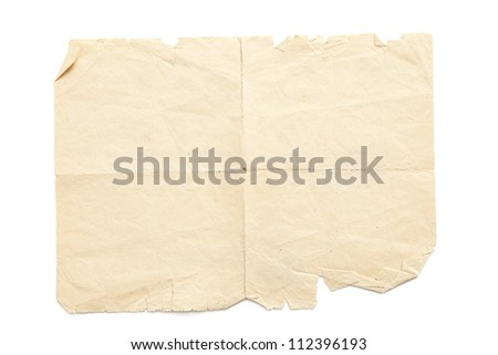 Retro aged grunge paper, isolated on white