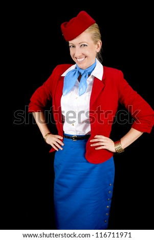 Retro Airline Attendant Isolated on Black.