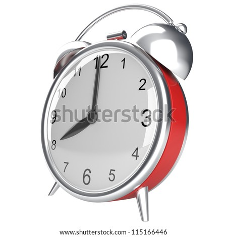Retro alarm clock. 3d render isolated on white background
