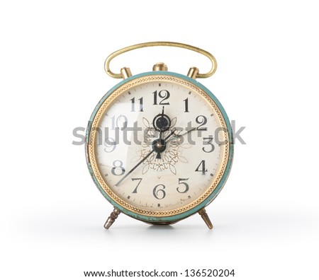 Retro alarm clock, isolated on white