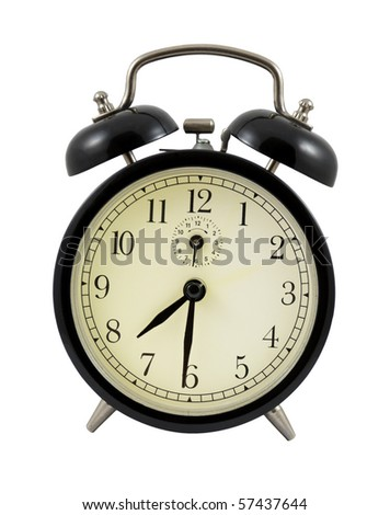 Retro alarm clock showing 7 hours and 30 minutes isolated over white