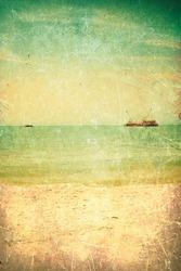 Retro and grunge sea