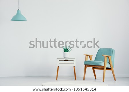 Retro armchair next to small white table with plant in pot in bright interior, real photo with copy space on the empty wall #1351545314