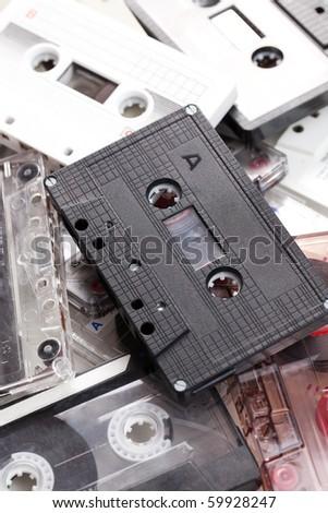 retro audio cassettes - stock photo