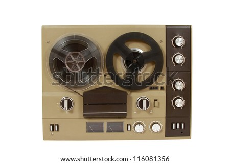 Retro audio tape recorder, with clipping path