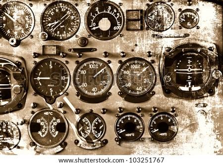 Retro aviation, aircraft instruments grunge background