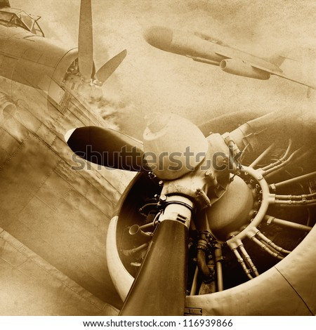 Retro aviation, grunge background
