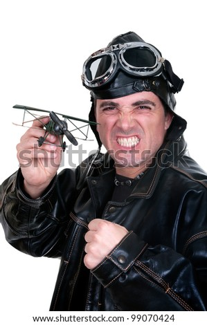 retro aviator on white background