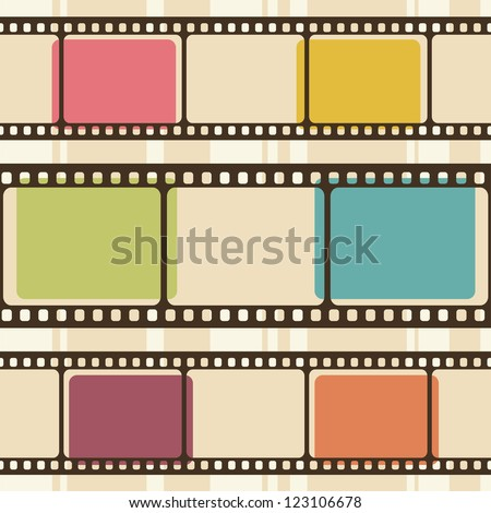 Retro background with film strips. Raster version