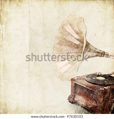retro background with old gramophone