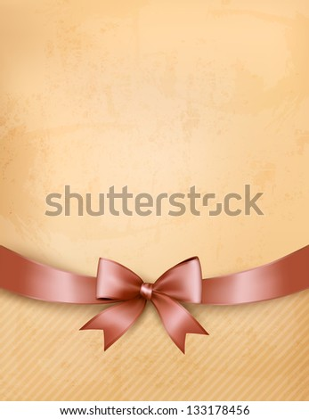 Retro background with old paper and gift bow and ribbon.