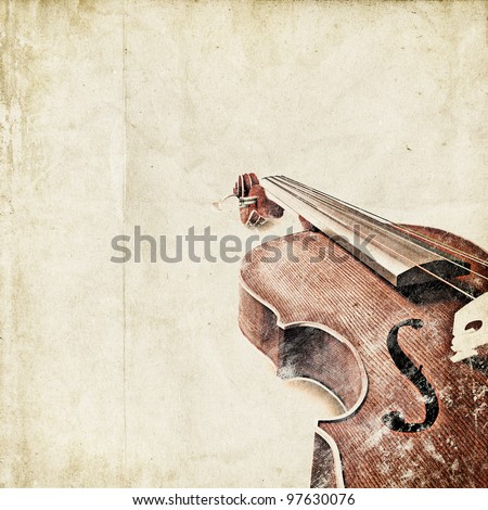 retro background with old violin - stock photo