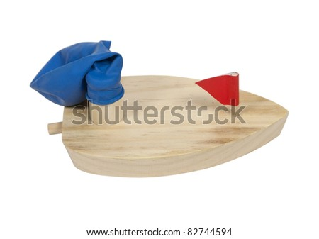 ... powered wooden boat for water fun - path included - stock photo