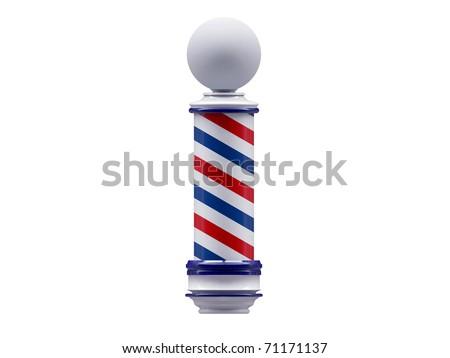 retro barber pole isolated on white background