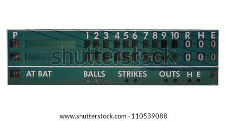 retro baseball scoreboard isolated on white