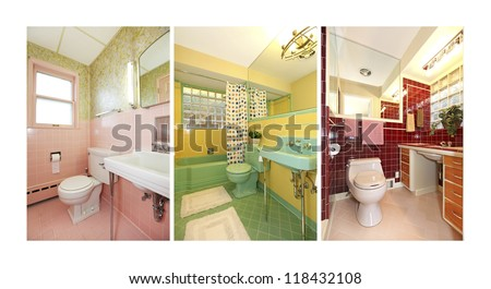 Retro bathrooms collage with colorful old bathroom interior. Mid-century pink, green, blue, red tiles and colors.