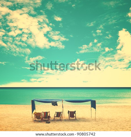 Retro Beach - stock photo