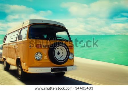 "stock photo retro beach van 34405483 - Каталог - Фотообои ""Автомобили"""
