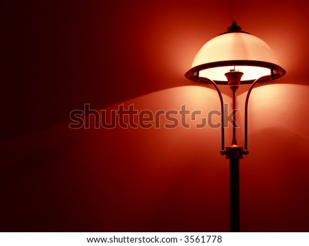 Retro bedroom lamp with red wall