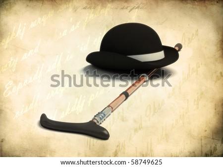 retro black bowler cap and cane