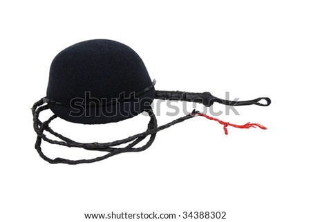 Retro black felt riding cap for equestrian events with a leather whip - path included