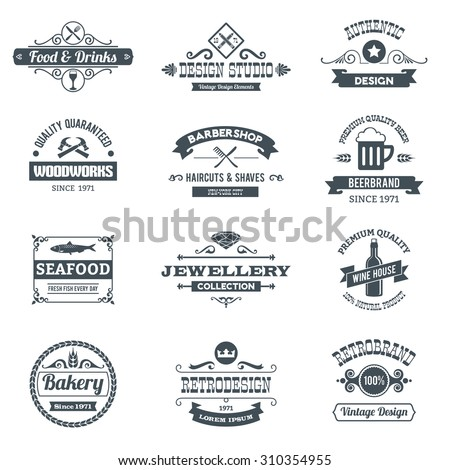 Retro black logo emblems set with woodworks barbershop restaurant isolated  illustration
