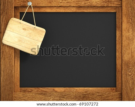 Retro blackboard of black color, with wooden frame
