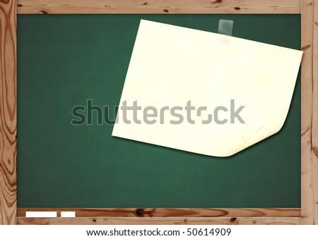 Retro blackboard with wooden frame - over white