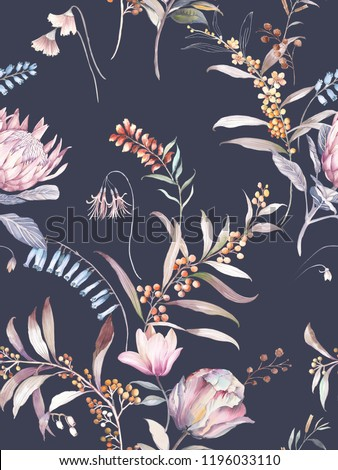 Retro blooming watercolor flowers and foliage fruit rich and colorful