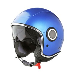 Retro Blue Open Face Modern Motorcycle Helmet Isolated on White. Cruiser Scooter and Flip Up Motorbike Helm with Retractable Double Visor. Side View Scooter Headgear. Sports Gear. Protective Equipment
