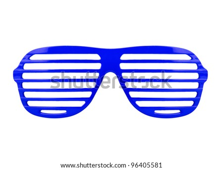 Retro blue shades sunglasses isolated on white background