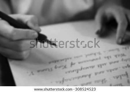 Retro  blur effect faded and toned image  girl writing a note fountain pen antique handwritten letter page document poet journalist lawyer business plan study contract letter pen memory report