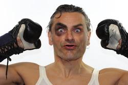 retro boxer man with black eye on white background