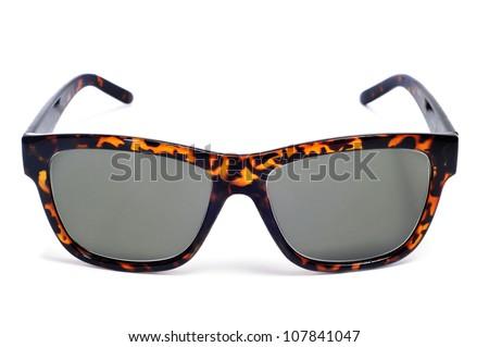 retro brown sunglasses on a white background