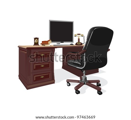 retro brown table with a computer and a black chair