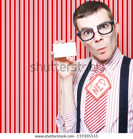 Retro Businessman Nerd Giving His Contact Card When Selling Whitegoods On Classic Striped Wallpaper Background