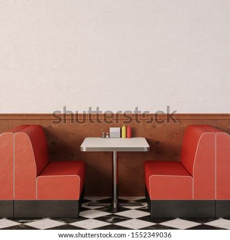 Retro cafe interior. 1950s American style diner. 3d render. Сток-фото ©