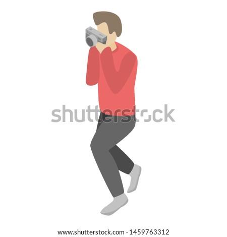 Retro camera take photo icon. Isometric of retro camera take photo icon for web design isolated on white background