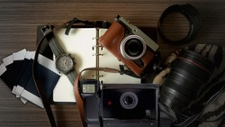 Retro Camera With Watch on Wooden Table, Retro Accessories Concept, Top View