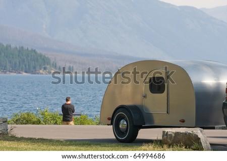 Retro camping scene at Glacier NP
