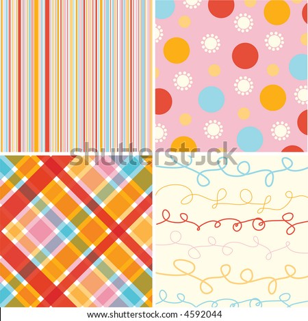 retro candy red pink pattern combo (raster) - illustrated pattern