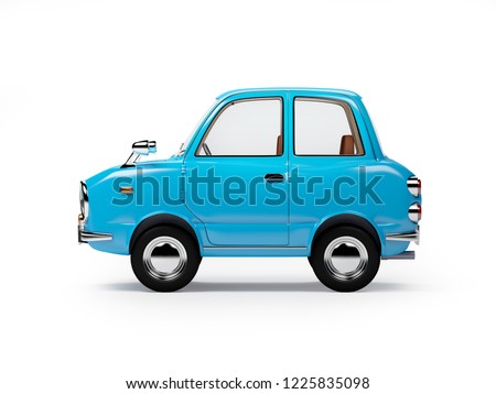 retro car blue in 60s style, side view, isolated on a white background. 3d illustration.